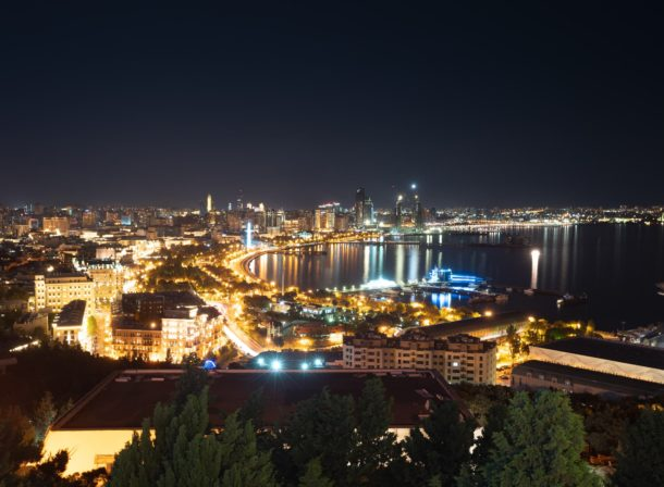 Baku coastline at night